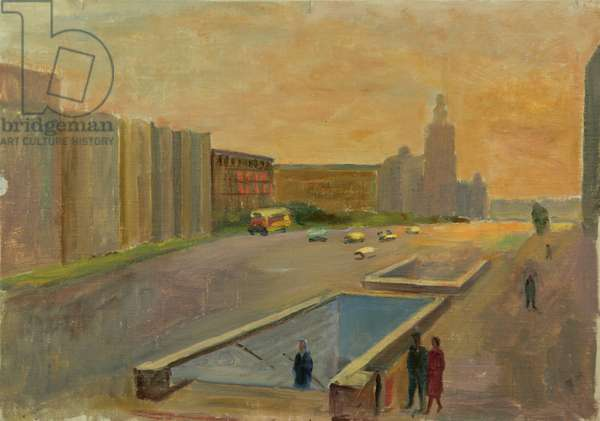 Novii Arbat being Built in Moscow, 1960s (oil on card)