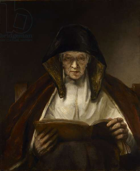 An Old Woman Reading, 1655 (oil on canvas)