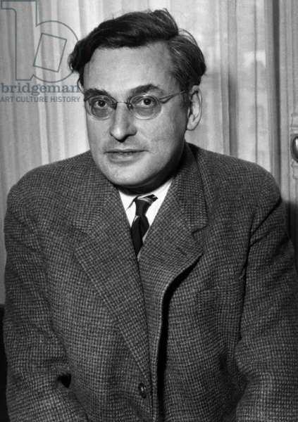French Writer Raymond Queneau (1903-1976), Member of The Goncourt Academy, here March 12, 1951 (b/w photo)
