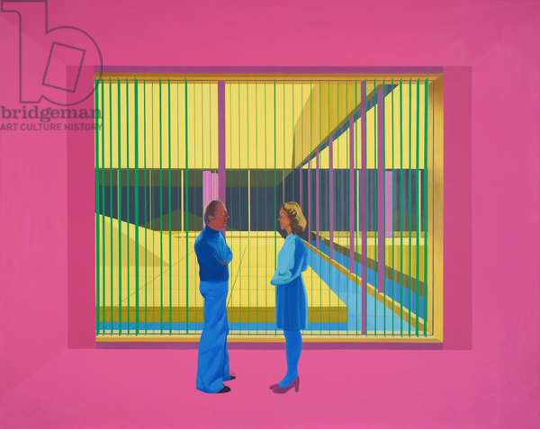 Man and Woman in Pink Room, 1975-76 (oil on canvas)