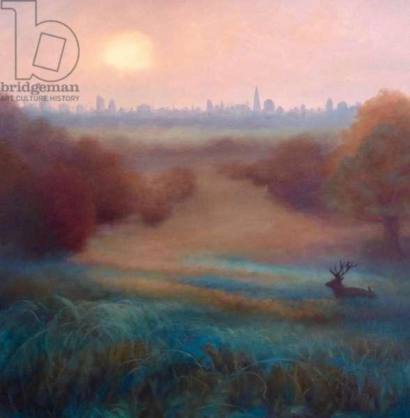 Morning Mist Richmond Park, 2021, (oil on canvas)