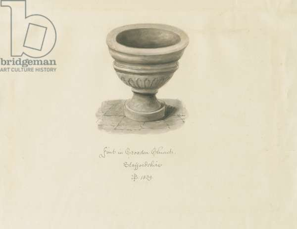 Croxden - Font in the Guest Chapel: sepia drawing, 1839 (drawing)