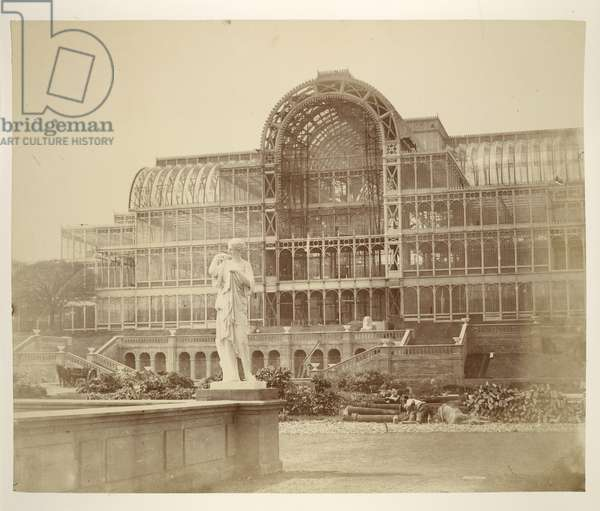 The South Transept, from the Second Terrace, Crystal Palace, from 'Photographic Views of the Progress of the Crystal Palace, Sydenham', 1855 (b/w photo)