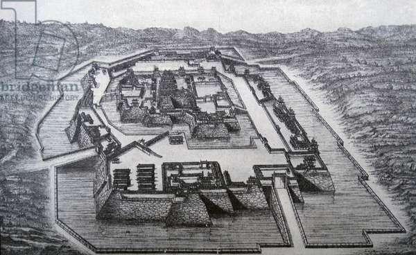 Illustration depicting the Osaka Castle captured by the conquering Tokugawa Ieyasu