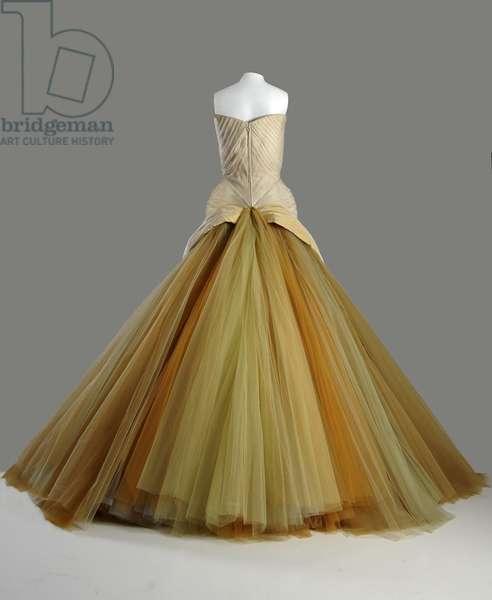 Evening dress, Butterfly, 1954 (back view), Silk chiffon, silk faille, DuPont nylon tule, Charles James, U.S.A.