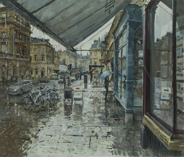 Absolutely Chucking it Down, George Street, Bath, 2016 (oil on canvas)