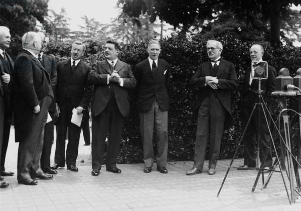 Edouard Herriot, Franz von Papen and James Ramsay MacDonald in Lausanne, 1932 (b/w photo)