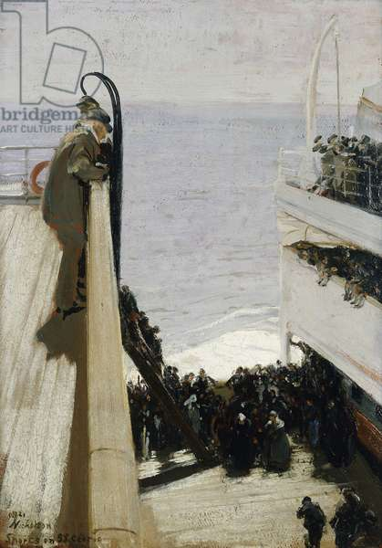 Sport on the S.S. Cedric, 1921 (oil on canvasboard)