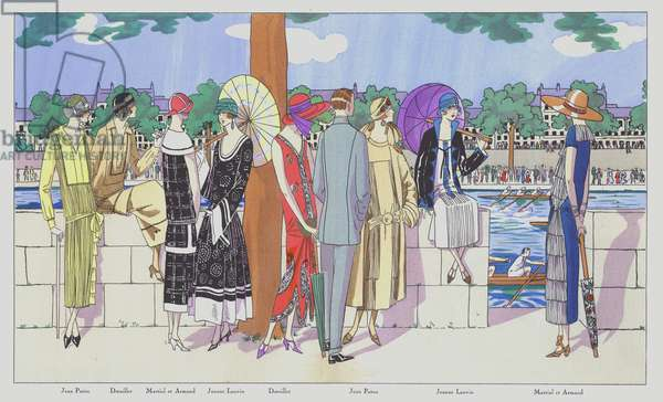 Women's fashion design of the 1920s by designers Jean Patou, Doeuillet, Martial and Armand, and Jeanne Lanvin (colour litho)