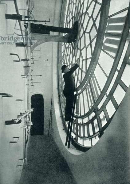 Inside the clock face, Big Ben (b/w photo)