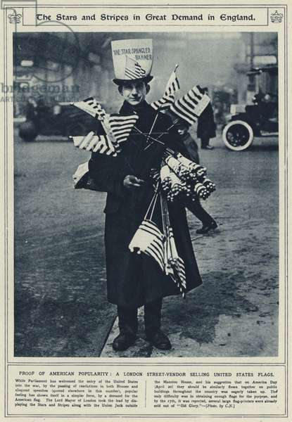The Stars and Stripes in great demand in England, proof of American popularity, a London street-vendor selling United States flags (b/w photo)