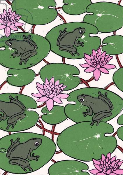 Waterlillies, 2012, (linocut)