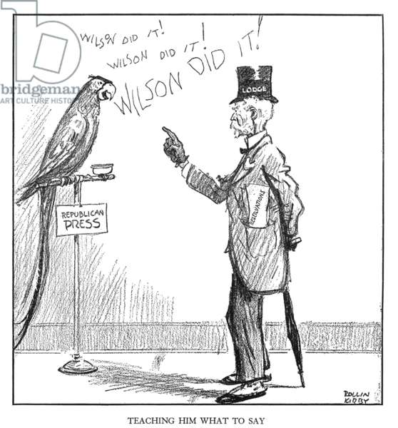 HENRY CABOT LODGE (1850-1924). American legislator and author. Cartoon by Rollin Kirby from the 'New York World,' 1 February 1920, on Lodge's opposition to the Treaty of Versailles.