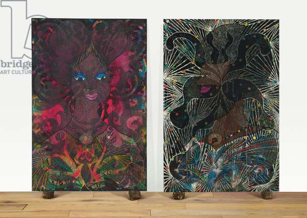 Untitled Diptych, 1999 (acrylic, oil, phosphorescent paint, printed paper, paper collage, glitter, polyester resin, map pins and elephant dung on canvas)