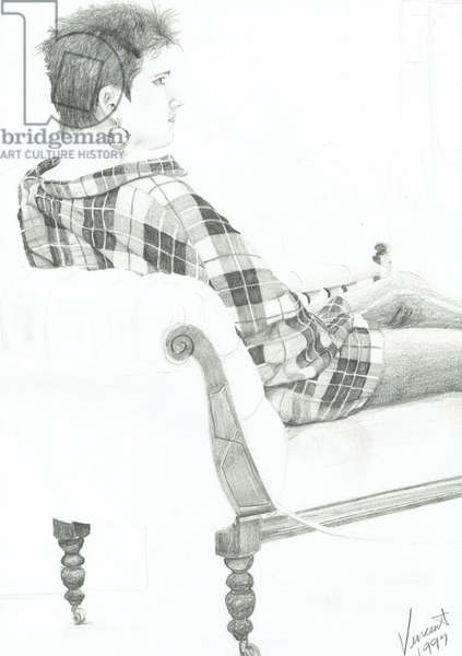 Woman at discussion, 1997, (pencil on paper)