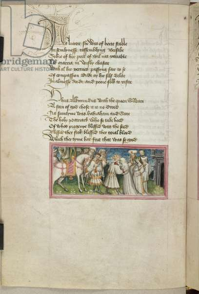 Harley 2278 f.11 Miniature of King Alkmund greeting Queen Siware, from 'Metrical lives of Saints Edmund and Fremund', 1434-39 (vellum)