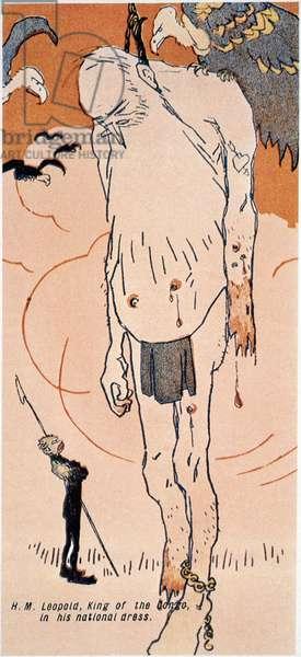 LEOPOLD II (1835-1909) King of the Belgians, 1865-1909. Receiving the same harsh treatment he gave Congo natives. English cartoon, c.1904.