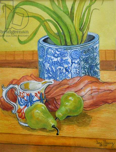 Blue and White Pot, Jug and Pears, 2006 (watercolour)