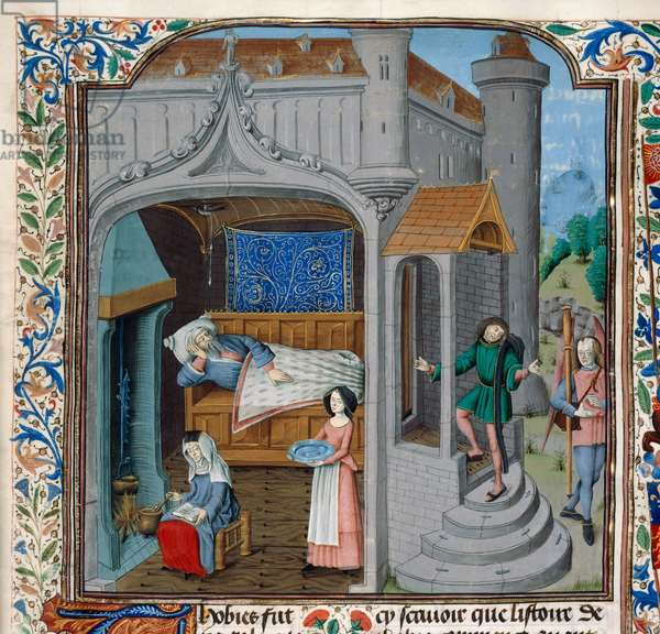 Royal 15 D,I, f.18, The blinding and cure of Tobit (vellum)