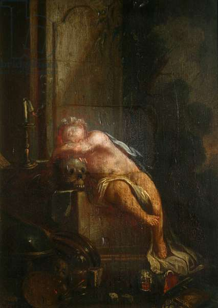 Sleeping Angel with Emblems of Death (oil on panel)