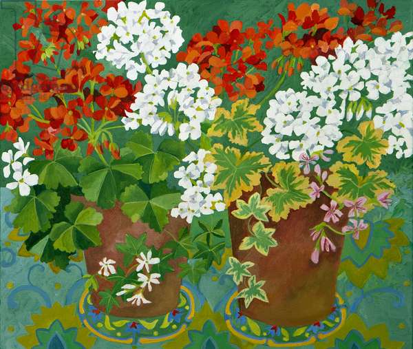 Red and white geraniums in pots, 2013, (acrylic on canvas)