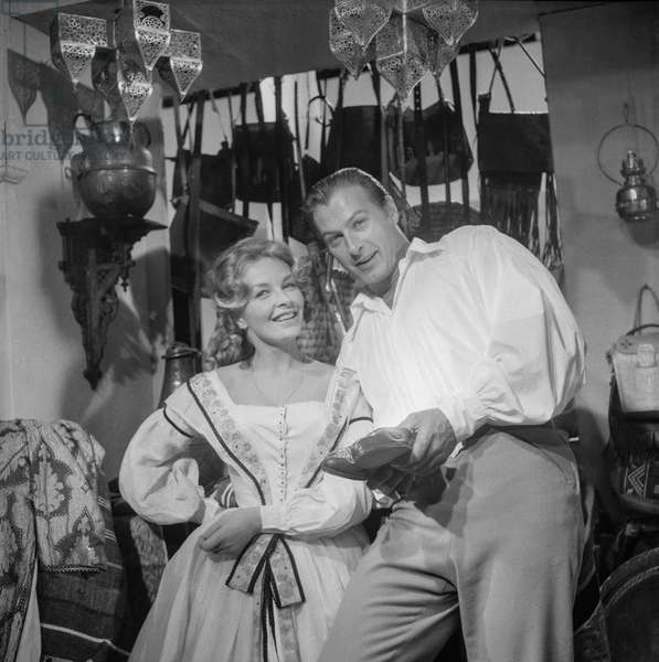 Odile Versois and Lex Barker on set of film