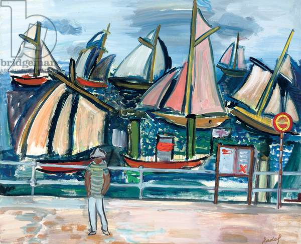 Boats; Bateaux, 1979 (oil on paper laid down on board)