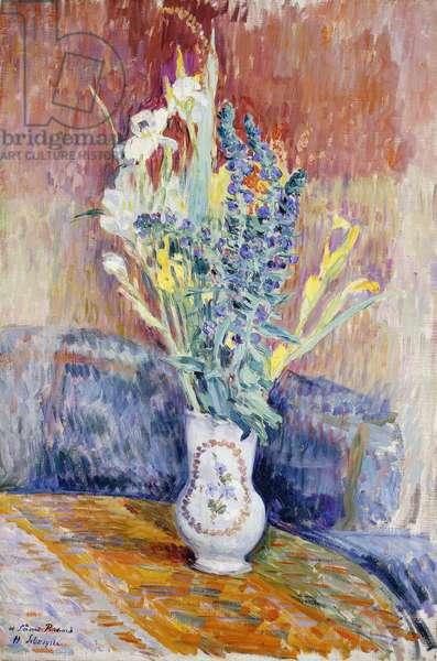 Flower Bouquet; Bouquet de Fleurs, (oil on canvas)