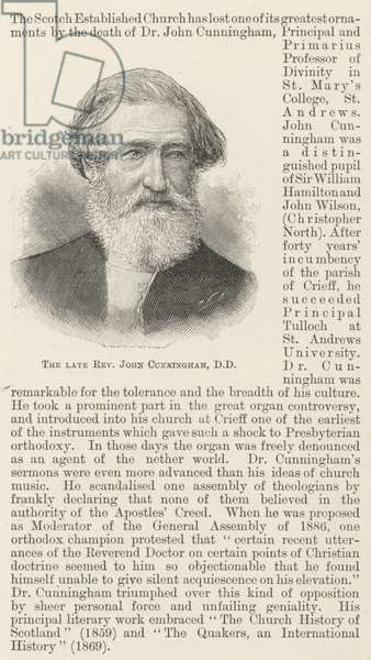 The late Reverend John Cunningham, DD (engraving)