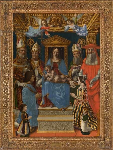 """Virgin and Child Enthroned with the Doctors of the Church and the family of Ludovico il Moro (""""Sforza Altarpiece""""), 1494-95 (oil & tempera on panel)"""