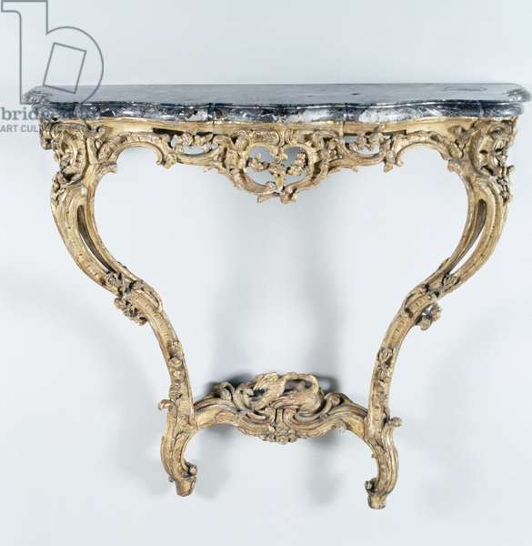 Louis XV style carved and gilt wood console table, France, 18th century