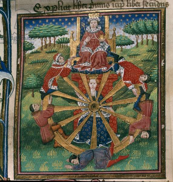 Royal 18 D. II, f.30v Wheel of Fortune, illustration from the 'Troy Book', c.1455-62 (vellum)