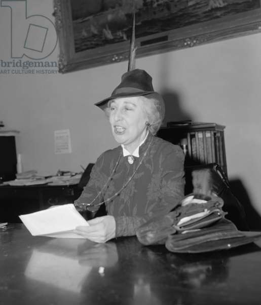Jeannette Rankin (1880-1973), in 1939, arguing against increasing U.S. Armed forces. She was elected to Congress for a second time in 1940, after running on an anti-war platform. She was the only member of Congress to vote against the Declaration of War with Japan in December 1941