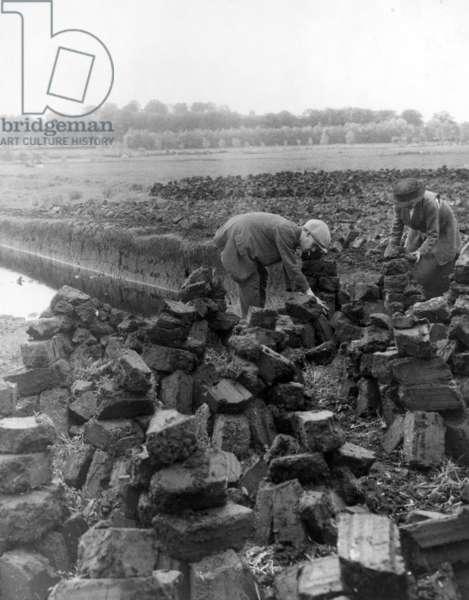 Gathering Peat, c.1920 (b/w photo)