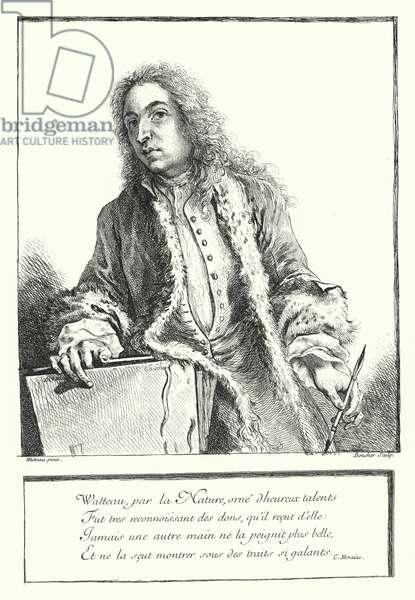 Self-portrait of French artist Antoine Watteau (engraving)