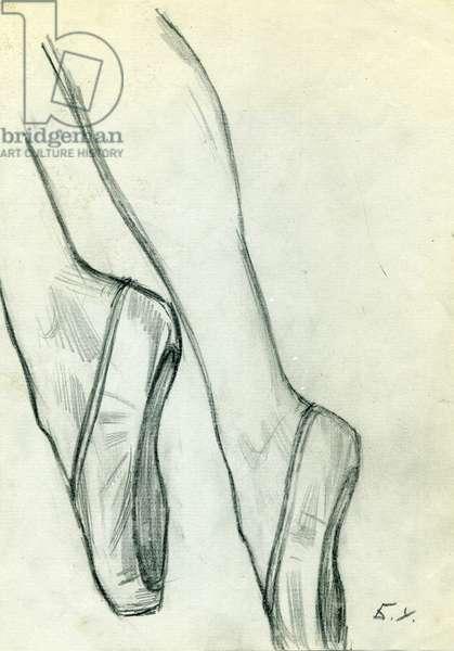 Sketch of Ballerina's Legs, 1969 (pencil on paper)