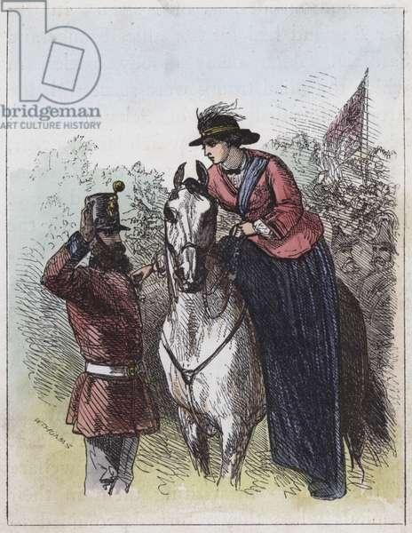 Queen Victoria distributing the Victoria Cross (coloured engraving)