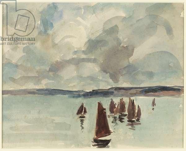 Pinasses, Bassin d'Arcachon, c.1928 (watercolour)