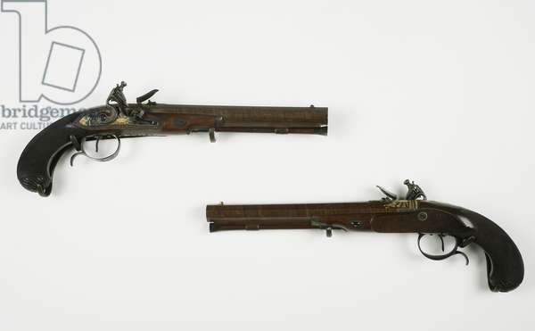 Pair of Flintlock Dueling Pistols, c.1780-1800 (mixed media)