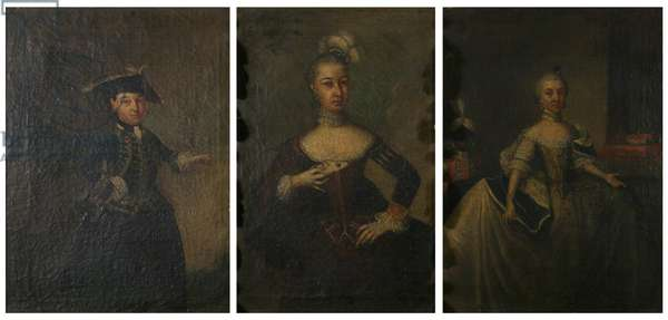 Three portraits of Countess Ansbach (oil on canvas)