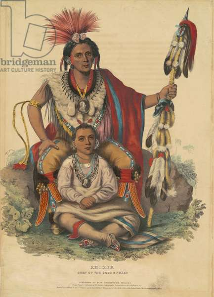 Keokuk, Chief of the Sacs and Foxes, 1838 (hand-coloured lithograph on wove paper)