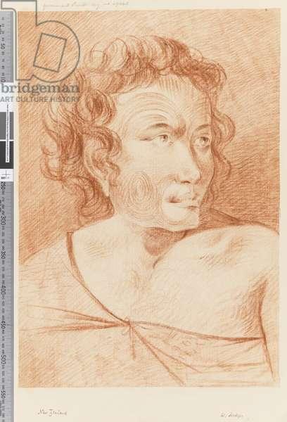 Page 32b New Zealand Portrait of a Maori, 1768-75 (red chalk)