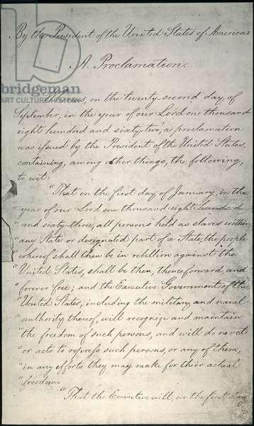 EMANCIPATION PROCLAMATION Page one of Abraham Lincoln's Emancipation Proclamation, 1863.