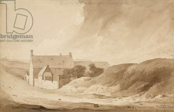'No 8 Farme de la Haie Sainte from Mount St John', 1815 (w/c & pencil on paper)