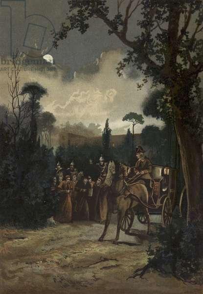Pope Pius IX leaving Rome, 1848 (chromolitho)