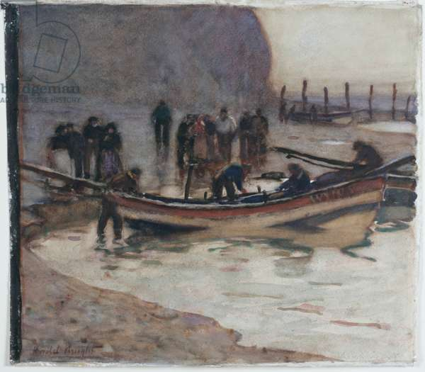 Fishing Boats, Evening (pencil & w/c on paper pasted on card)