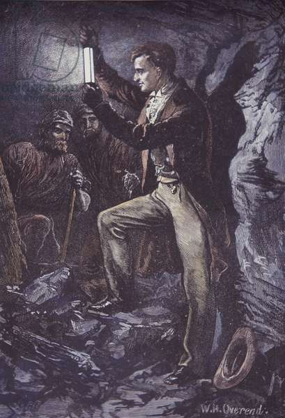 Humphry Davy with Davy safety lamp for miners, invented in 1815 (hand-coloured wood engraving)