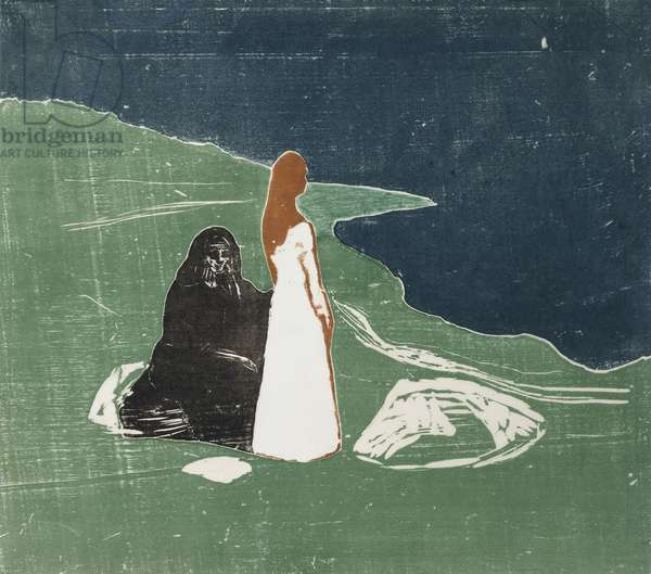 Women at the Seashore; Frauen am Meeresufer, (woodcut)
