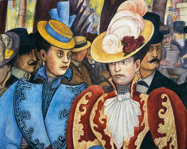 Diego Rivera's daughters in red and blue, detail from Dream of a Sunday afternoon in Alameda Park, 1947, by Diego Rivera (1886-1957), from the Hotel del Prado fresco. Mexico, 20th century.
