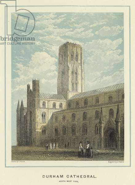 Durham Cathedral, north west view (colour litho)
